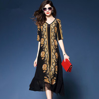 Elegant Long Silk Dresses Ladies V Neck Short Sleeved Loose Floral Printed Dress Female Vintage Party