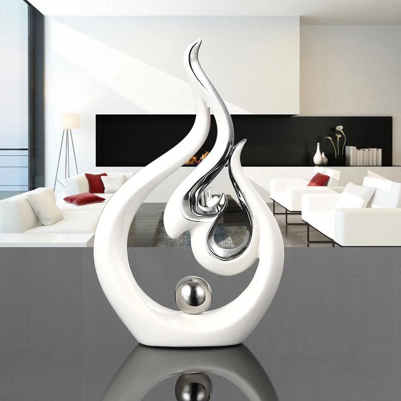 Charming Modern Decorative Sculpture Arts Plated Porcelain Abstract Sculpture  Tabletop Ornaments White Ceramics For Home Decoration In Statues U0026  Sculptures From Home ...