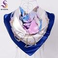 Marca de La Cadena Cuadrada Cabeza Accesorios de La Bufanda Bufandas de Las Señoras Rosa Azul Satén Del Mantón de La Bufanda Mujeres Del Verano Aire Acondicionado Bufanda de Cuello