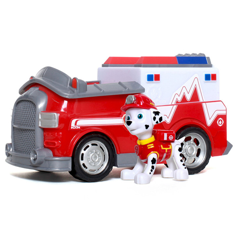 Paw Patrol Marshall Patrol Cars Fire Truck Genuine Patrulla Canina PVC Doll Action Figure Model Toy Kids Birthday Gift Boys in Action Toy Figures from Toys Hobbies