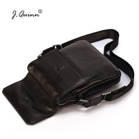 J Quinn Mens Shoulder Bag Top Quality Real Cowhide Leather Classic Brand Designer Genuine Man Crossbody