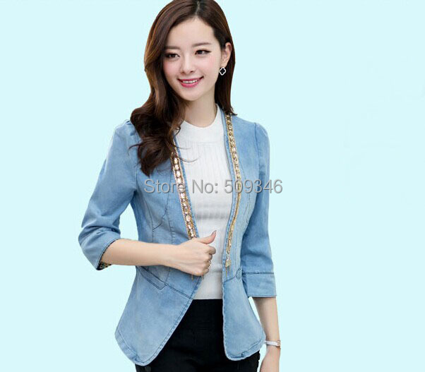 2264c37e3b7 Fashion Women Ladies Casual Blazer Denim Jeans Jackets Outwear Seven Sleeve  Spring Autumn Korean Style -in Blazers from Women s Clothing   Accessories  on ...