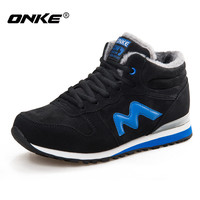 Onke 2017 Winter Running Shoes Men Suede Leather Sport Shoes Woman Running Snow Shoes Outdor Walking