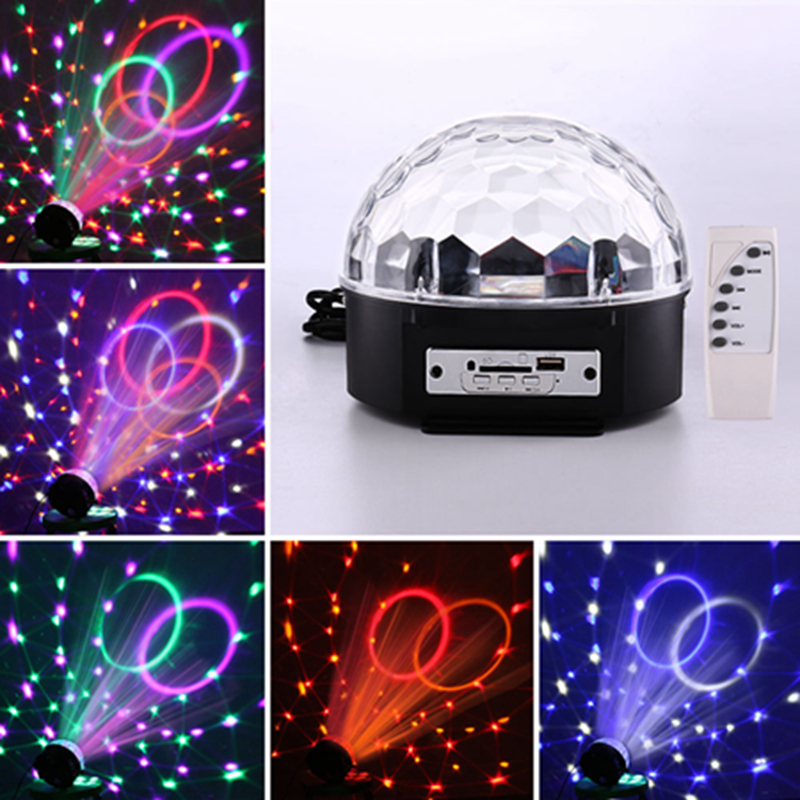 RGB LED MP3 DJ Club Pub Disco Party Crystal Magic Ball DMX Stage Light 6 Colors Changing with Music Professional Stage Light croled led crystal magic ball stage light mp3 dj club pub disco party 12w rgb party us plug