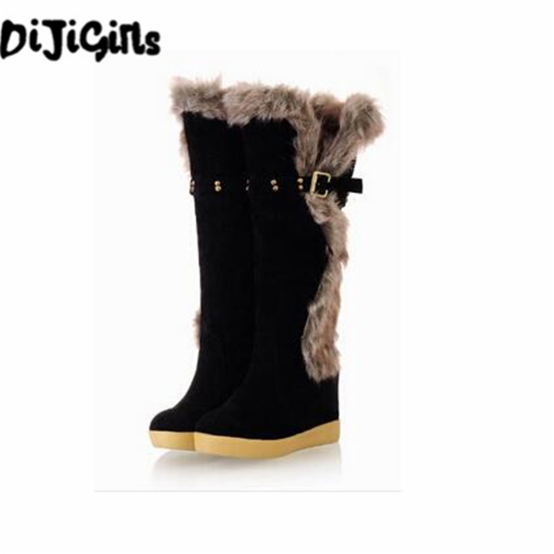 Hot Sale Buckle Knee High Women Winter Fur Boots Solid Round Toe Women Winter Wedges Winter Fashion Ladies Shoes New Snow Boots barton wallpapers фотообои f17303 300х270 см