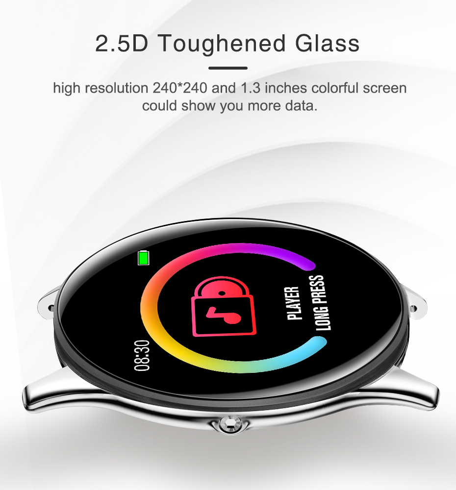 Virtoba CN58 Smart Watch 1.3'' Toughened Glass Touch Screen Smartwatch Man Women Blood Pressure IP68 Waterproof Fitness Tracker 1