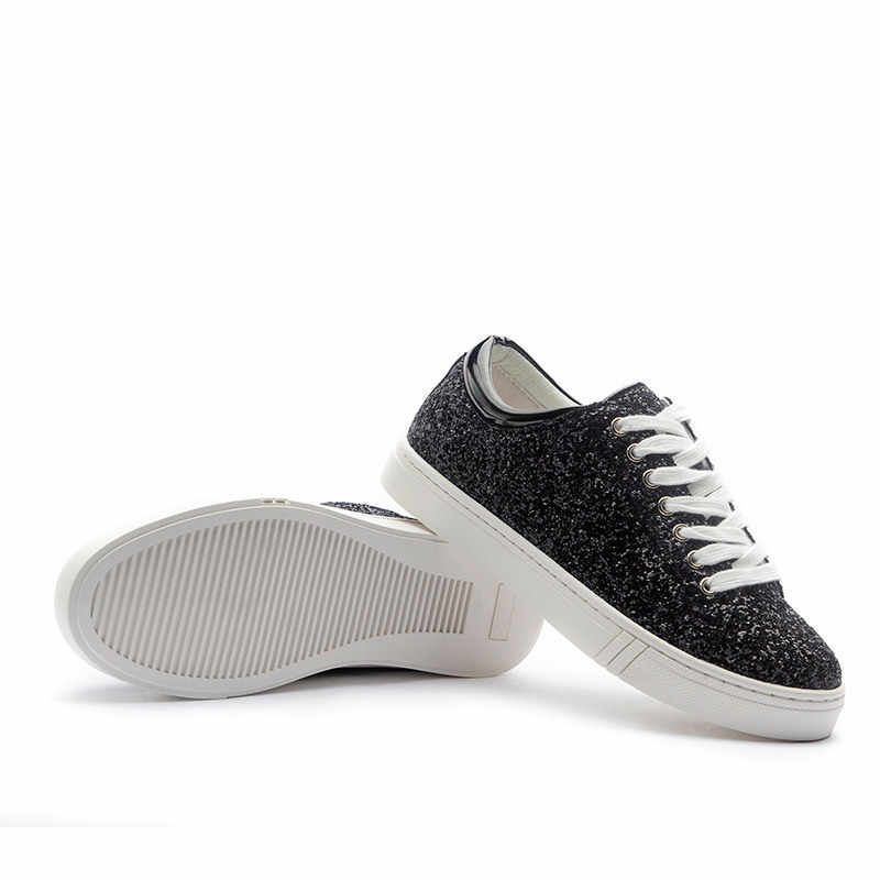 628499480f Smile Circle Size 35-41 Women Sneakers Fashion Sequins Flat Platform Shoes  For Women Thick bottom Casual Shoes Silver Black