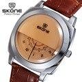 Skone moda creativa relojes unisex hombres mujeres top marca de lujo para hombre de cuero reloj de cuarzo relogio masculino feminino xfcs
