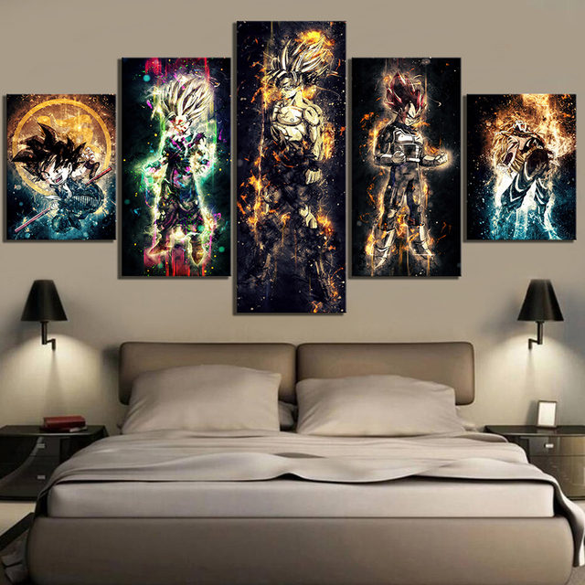 Wall Art Canvas Paintings 5 Pieces Dragon Ball Pictures Prints Home Decoration Animation Poster For Living Room Modular Frame
