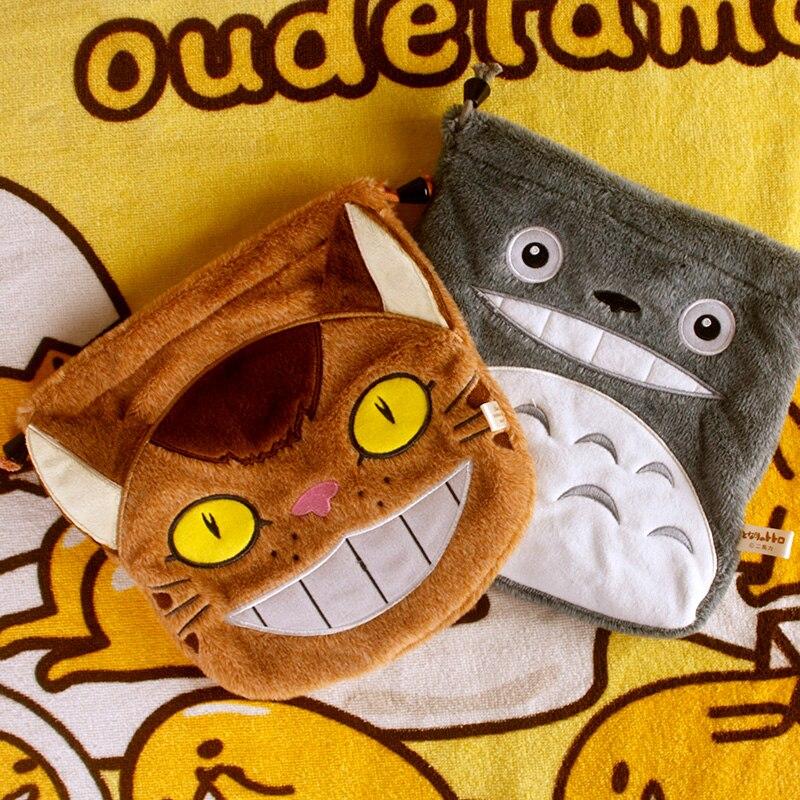 Cool 1PCS Totoro Kitten Bus Cartoon Drawstring Bags Cute Plush Storage Handbags Makeup Bag Coin Bundle Pocket Purse NEW