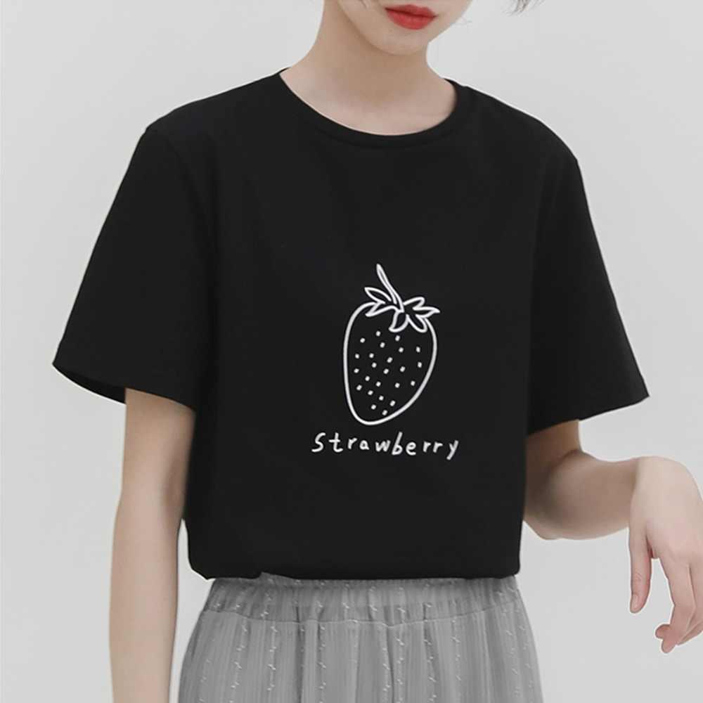 Clasp bang sleeve  Harajuku short sleeved Fresh and simple strawberry print cotton brand t  shirt Graphic Tees Hipster Tumblr Cozy tops drop ship| | - AliExpress