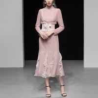 Высокое качество взлетно посадочной полосы дизайнерское платье 2019 Весна для женщин Элегантный Винтаж оборками с длинным рукавом розовый в