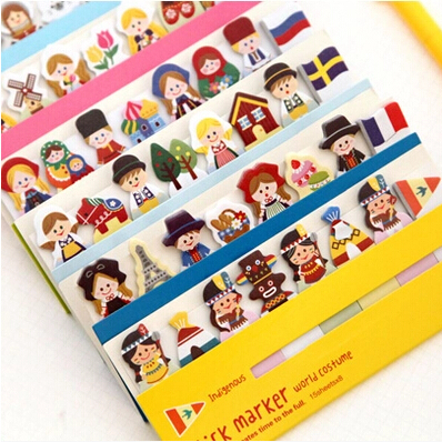 New girl doll style sticky notepad /460 Memo / message post marker / label School supplies/ stationery/papelaria WJ0110