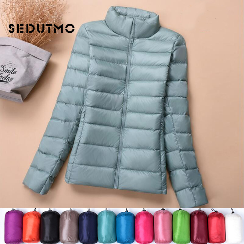 SEDUTMO Winter Plus Size 4XL Womens   Down   Jackets Ultra Light Duck   Down     Coat   Short Hoodie Puffer Jacket Spring Parkas ED658