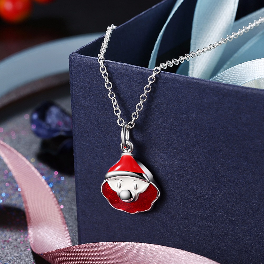 Free Shipping Fashion 925 Sterling Silver Jewelry Enamel Craft Red Santa Pendant Women Sterling Silver Necklace