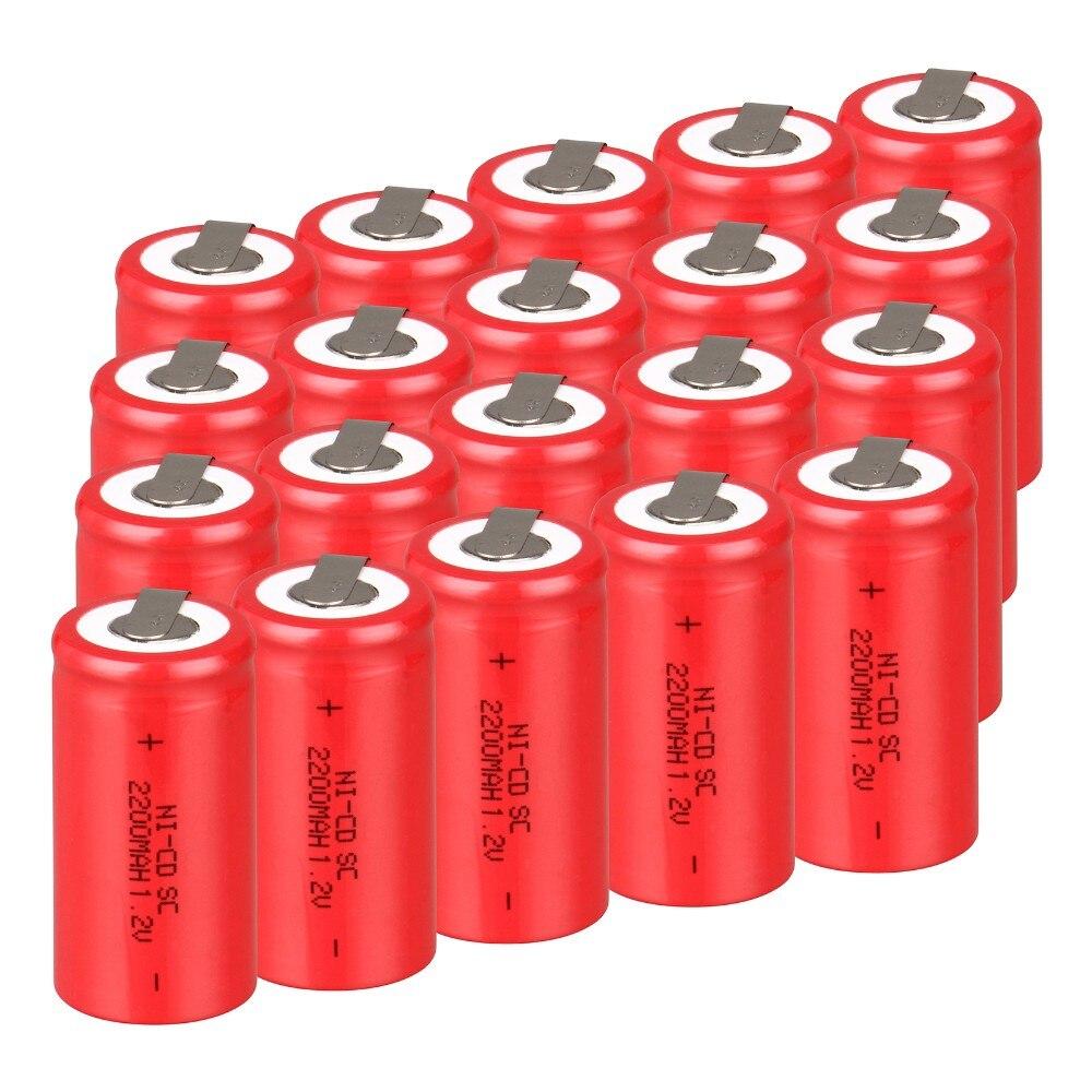 20 unids SUBC batería batería recargable 1.2 v 2200 mah SC batería power bank ba