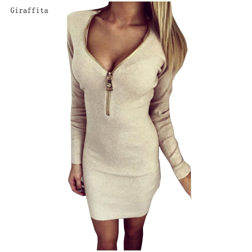 Giraffita Autumn Women Sweater Dress V neck Long Sleeve Women Dresses Winter Mini Femme Elegantes Robe