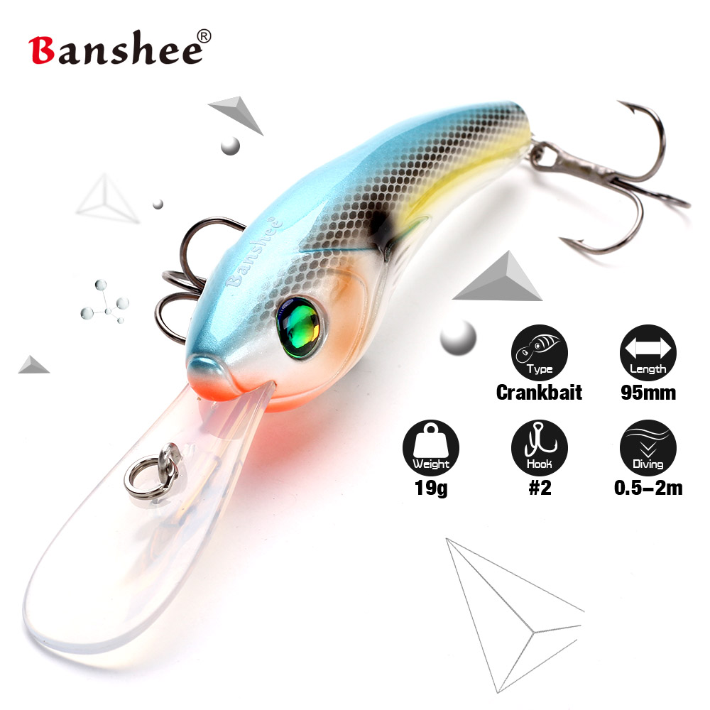 Banshee 95mm 19g VS01 Wobbler Fishing Lure Hard Artificail Bait Pike Bass Floating Big Diving Round Round Bill Crankbait allblue slugger 65sp professional 3d shad fishing lure 65mm 6 5g suspend wobbler minnow 0 5 1 2m bass pike bait fishing tackle