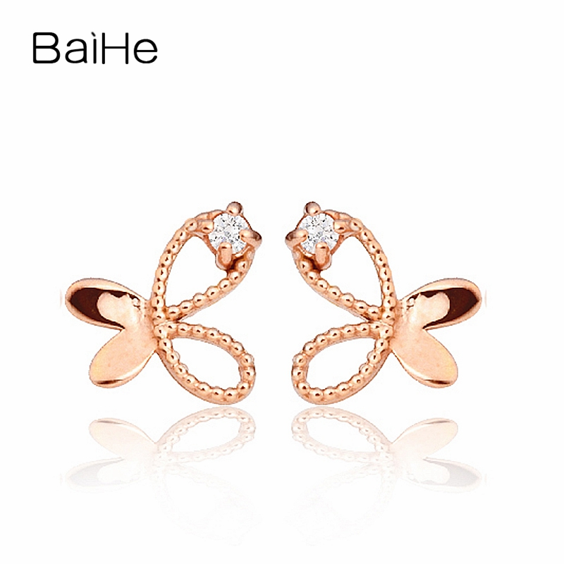 BAIHE Solid 18K Rose Gold 0.01CT H/SI Round cut Genuine Natural Diamonds Engagement Trendy Jewelry Elegant Unique Stud Earrings solid 18k rose gold unique stud earrings for women si h 100% natural diamonds earrings unique trendy party fine jewelry