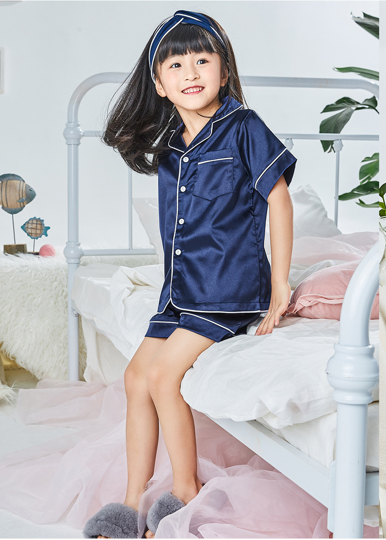 Soft And Silky Children Pajamas Summer Short Sleeve