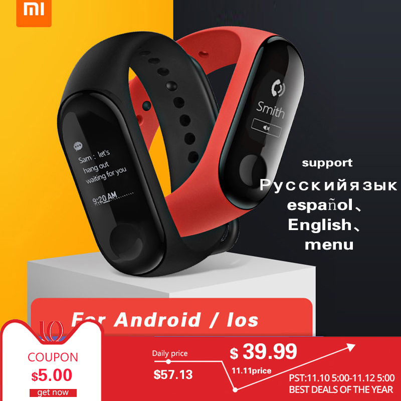 NEUE Xiao mi mi Band 3 mi band 3 Fitness Tracker Heart Rate Monitor 0,78 ''OLED Display Touchpad Bluetooth 4,2 Für Android IOS