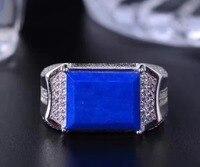Мужские кольца Синий Lapis мужское кольцо Бесплатная доставка натуральный синий Lapis кольцо 925 стерлингового серебра для мужчин или wo мужчин др