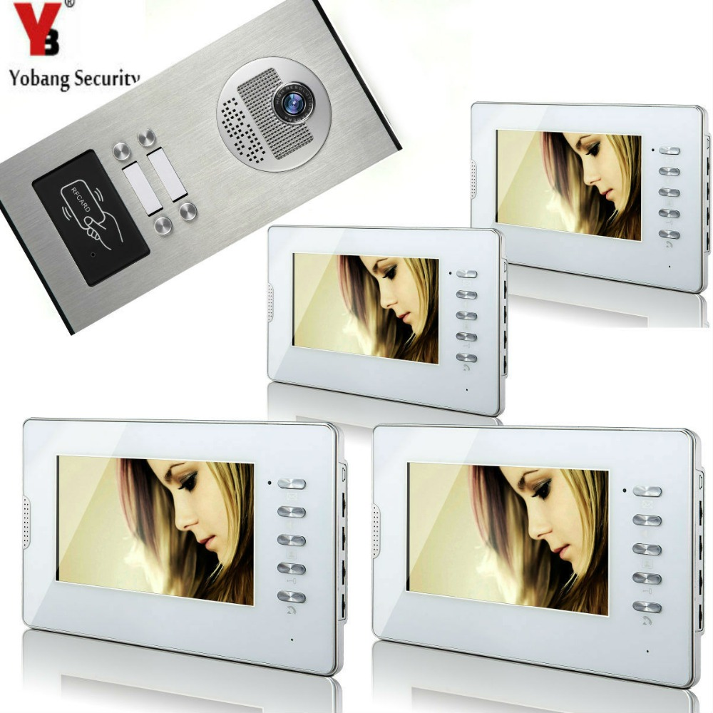 Yobang Security 7''Inch TFT LCD Wired Video Doorbell Monitor Intercom Waterproof Camera(4 Button) To 4 Monitor For Apartment