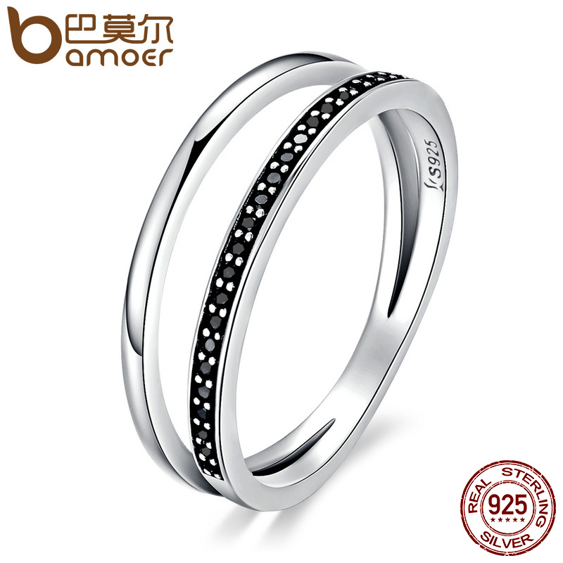BAMOER Genuine 925 Sterling Silver Double Circle Black Clear CZ Stackable Finger Ring for Women Fine Silver Jewelry Gift SCR082 лопатки arena elite finger paddle black silver 95251 55 s