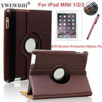 2 3 3 YWEWBJH Shockproof Case For iPad MINI1 2 3 PU Leather 360 Degree Rotating Leather Smart For iPad MINI 2 MINI3 Cover Case (1)