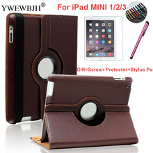 YWEWBJH Shockproof Case For iPad MINI1 2 3 PU Leather 360 Degree Rotating Leather Smart For iPad MINI 2 MINI3 Cover Case