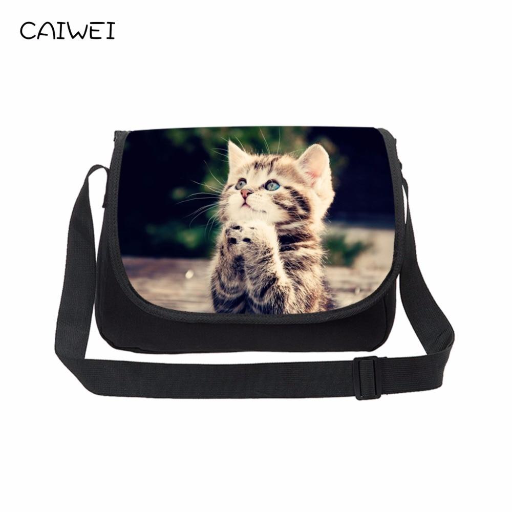 Casual Canvas Women Messenger Bags Teenager Travel Bags Cute Cat Print  Cross Body Bag High Quality 5a31ff1681a68