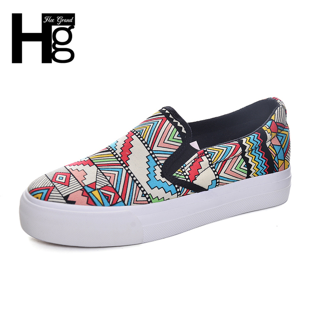 HEE GRAND Fashion Graffiti Women Shoes Colorful Printing Round Toe Shallow Slip-on Platform Shoes for Woman XWC1059