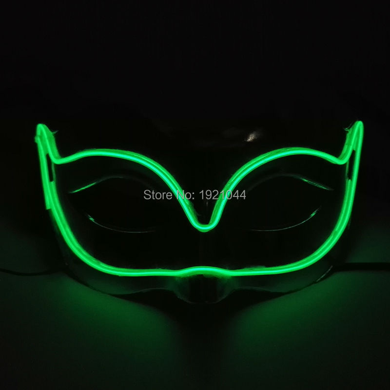 EL Wire Glowing Mask Luminous LED Light up Mask for Christmas Event Party Decoration Supplies Color Green
