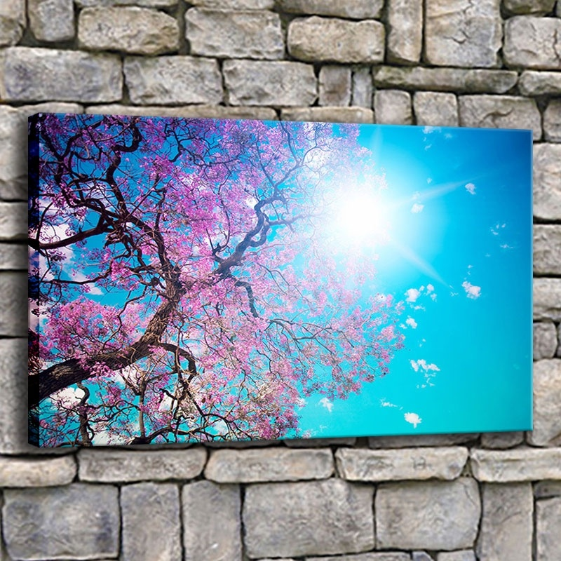 Canvas Printed Painting Wall Art 1 Piece Cherry Blossom Blue Sky