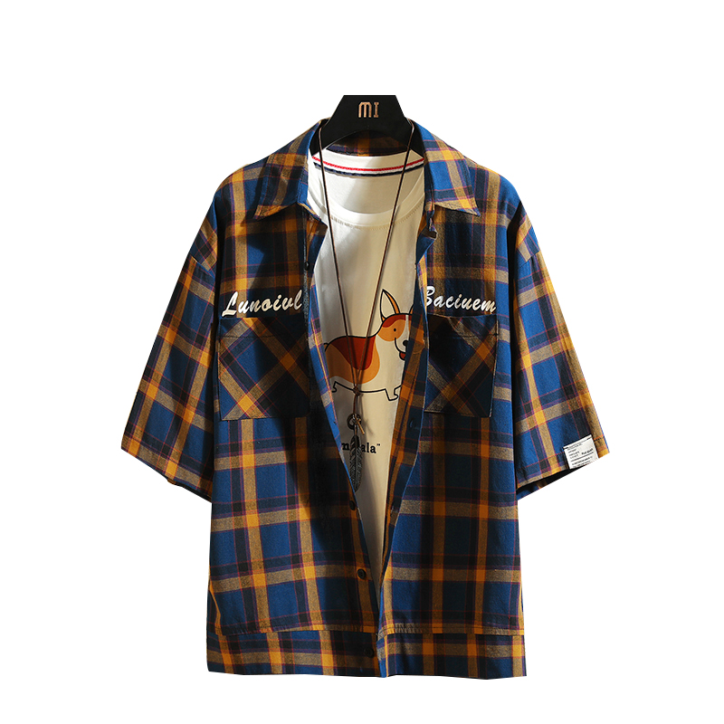 Korean Oversized Shirt Men Short Sleeve Plus Size Summer Plaid Men Check Shirts Stylish 5xl Overhemd Mannen Casual Dress T6V05