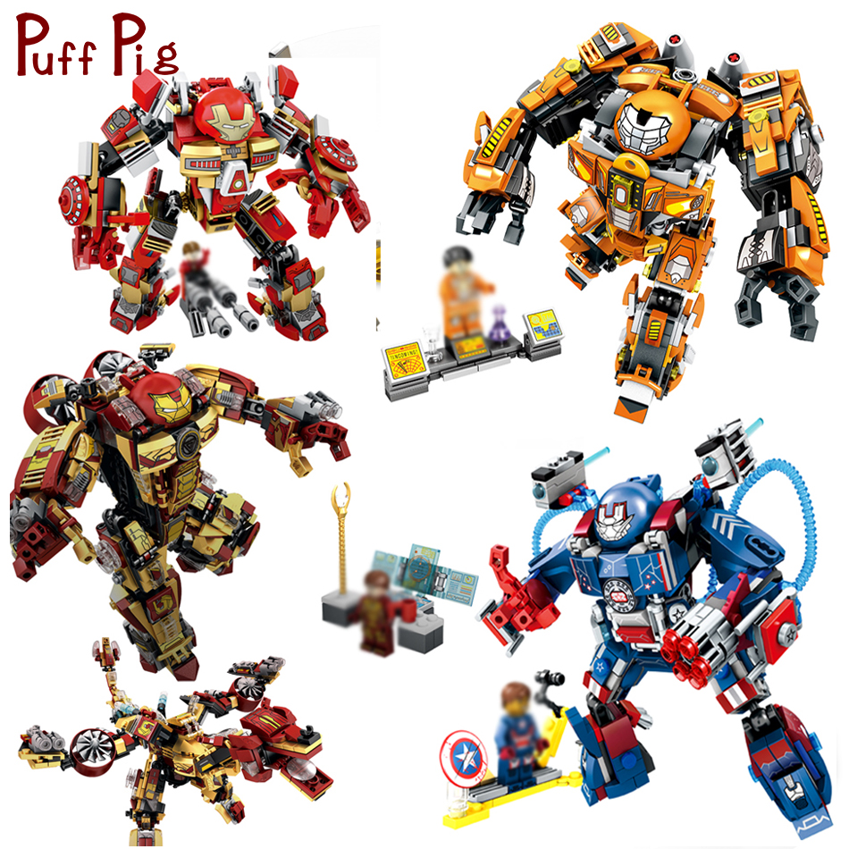 Super Heroes Avenged Iron Man Armor Warrior Building Blocks Compatible Legoe Enlighten Brinquedos Toys For Children Friends