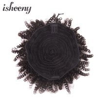 Isheeny High Puff Afro Curly Ponytail Drawstring Short Clip In 8 Inches Natural Color Machine Made Remy Afro Kinky Pony Tail