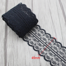 Lucia Crafts 5yards/lot 45mm soft lace ribbon DIY Embroidered Net Lace Trim Fabric For Sewing Wedding Decoration 050025082