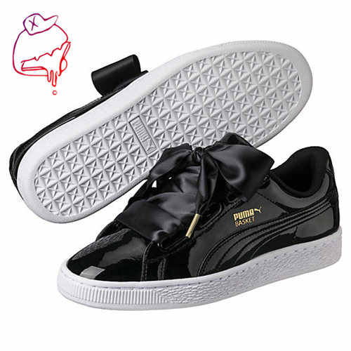 Original PUMA Basket Heart Patent Women s Sneakers Suede Satin Badminton  Shoes size36-40 be35af0bb