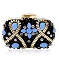Cristal de Safira de luxo Cadeias de Capina Partido Nupcial Clutch Purse Saco de Noite Das Mulheres Do Vintage Corpo Cruz Bolsa de Ombro Min Bolsa