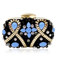 Luxury Sapphire Crystal Women Evening Bag Vintage Weeding Party Bridal Clutch Purse Chains Cross Body Shoulder Bag Min Handbag