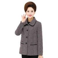Chinese Women S Elegant Short Jackets Gray Khaki Basic Coat Middle Aged Woman Turn Down Collar