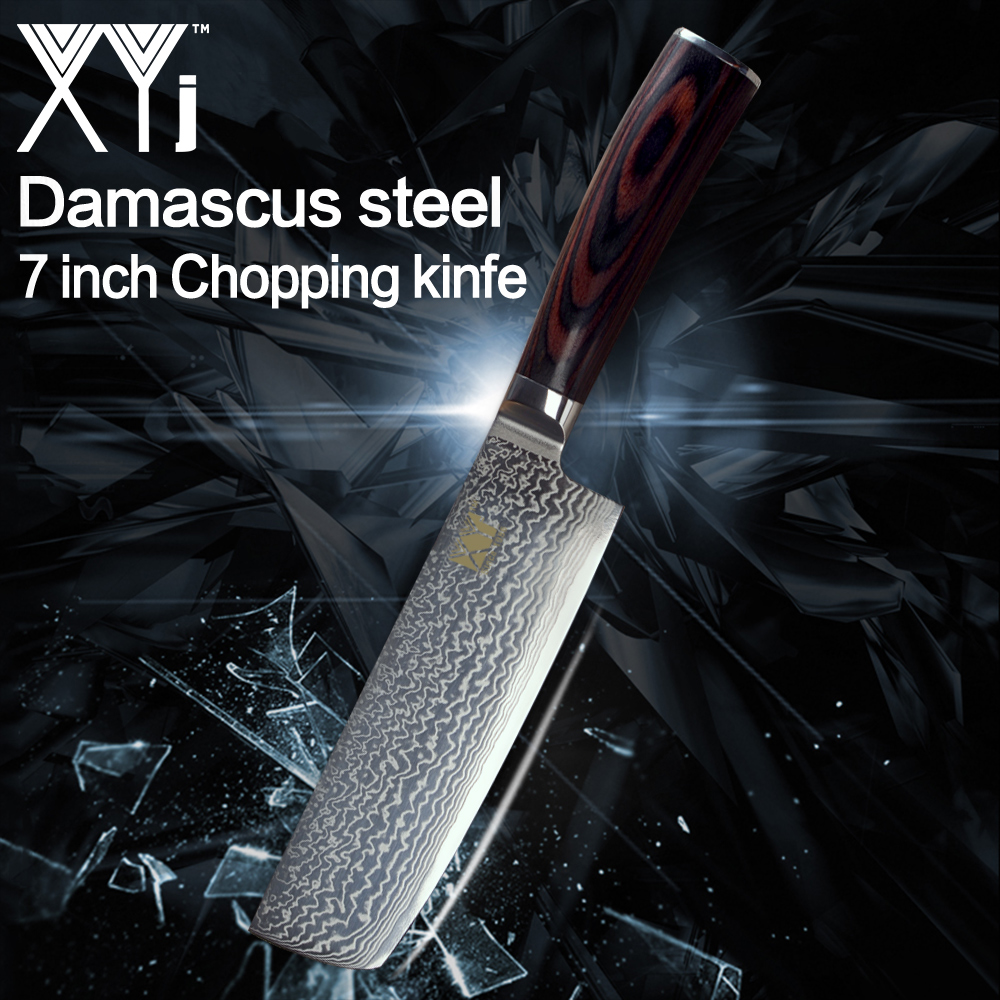 XYj New Arrival 2018 Damascus Steel Knife Japanese Chop Bone Cut Meat Vegetable Dual purpose Kitchen