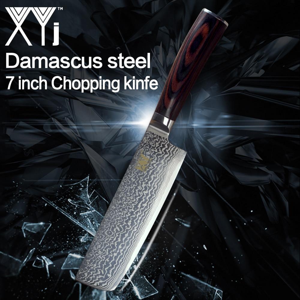 XYj nouveauté 2018 couteau en acier damas japonais coupe os viande légume double usage cuisine couteau accessoires-in Couteaux de cuisine from Maison & Animalerie    1