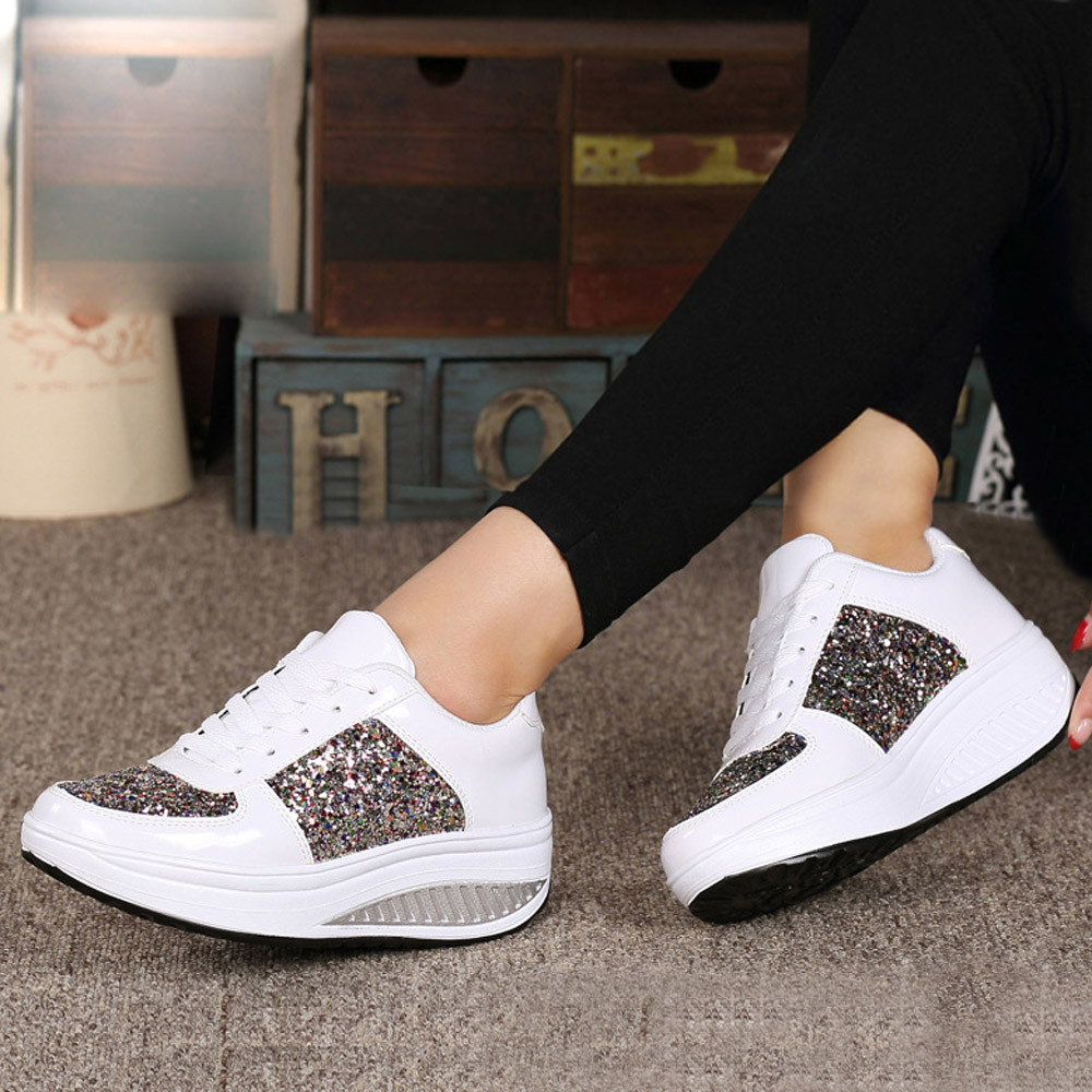 Womens Ladies Wedges Sneakers Sport Sequins Shake Shoes Girls lace-up breathable running shoes zapatos de mujer #090520Womens Ladies Wedges Sneakers Sport Sequins Shake Shoes Girls lace-up breathable running shoes zapatos de mujer #090520
