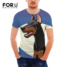 FORUDESIGNS Summer Tops Tees Men Doberman Dog Printing T Shirt Teenagers Casual Short Sleeve Tee for Males Funny T-shirt