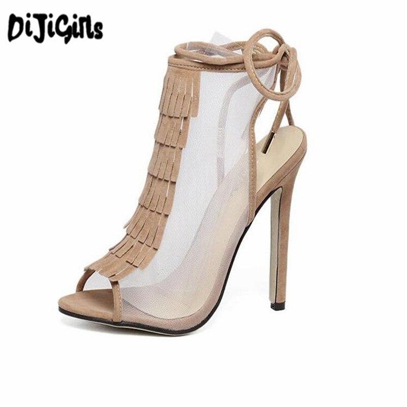 High Heels Sandal 2018 sexy Tassel Women gladiator Sandals Fashion strappy Open Toe Summer style Party shoes red brown tassel women sandal stilettos shoes women sandal open toe made to order plus size 14 stilettos discount dress shoe
