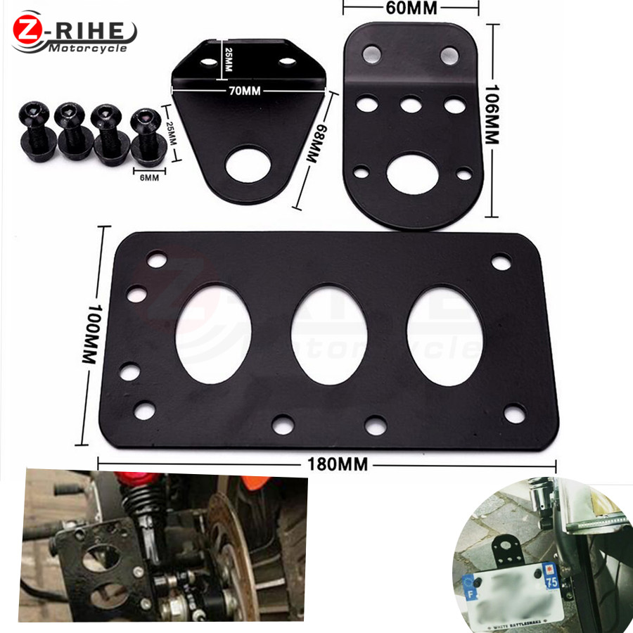 Motorcycle Parts Aluminum Motorcycle License Plate Bracket Side Mount Tail Light Fit Harleys choppers Sportster Bobber all motor