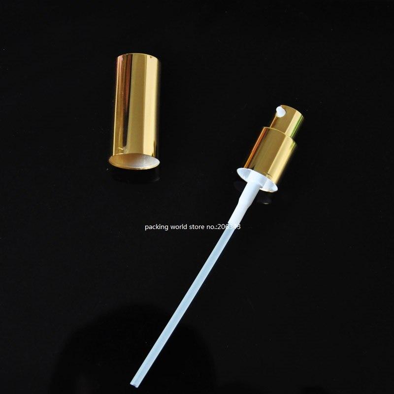 18 мм золото/черный/серебро алюминиевый пресс-насос для лосьона мелкий распылитель тумана 5 мл/10 мл/15 мл/20 мл/30 мл/50 мл/100 мл для бутылки эфирного масла - Цвет: gold lotion pump