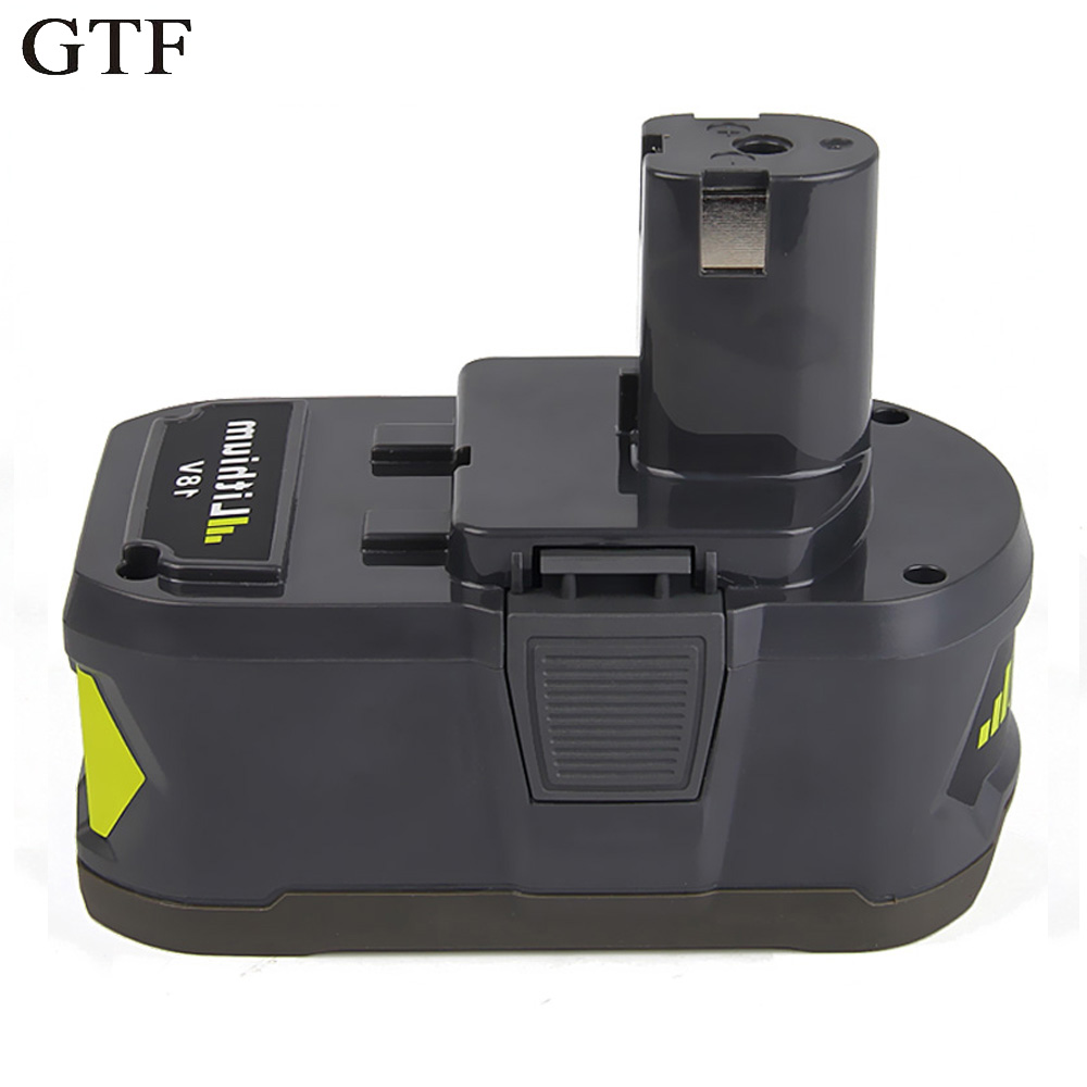 GTF 18V 5000mAh Li-Ion Power Tool Rechargeable Battery For Ryobi P108 RB18L40 Replacement Battery Batteria For ONE+ Accumulators 18v 6000mah rechargeable battery built in sony 18650 vtc6 li ion batteries replacement power tool battery for makita bl1860